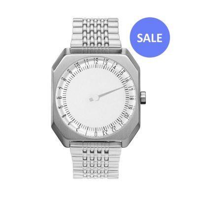 slow Jo 01 - One-hand watch, all silver steel - Swiss Made - Sale