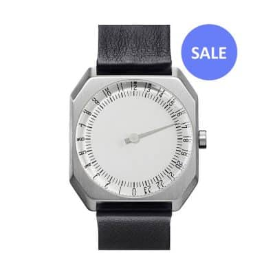 slow Jo 05 - Single Hand watch - Silver octagon case, black leather band - sale