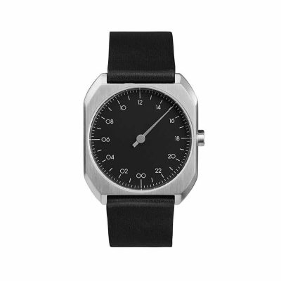 slow Mo 06 - Single Hand wrist watch - Silver octagon case, Black leather strap
