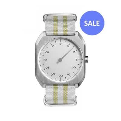 slow Mo 13 - Swiss one hand wrist watch - Silver, yellow nylon - sale