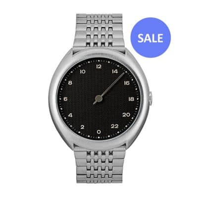 slow O 02 - One hand watch, all silver steel, black dial - Swiss Made - sale