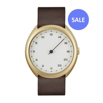 slow O 12 - gold Swiss 24 hour one hand wrist watch, stainless steel case, dark brown leather band - Front SALE