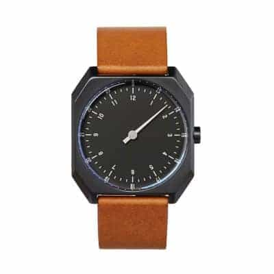slow AM-PM edition 04 - Swiss one-hand wrist watch - Black, Brown-1